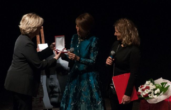 Patrizia Sandretto Re Rebaudengo riceve il Premio Ipazia. Festival Eccellenza Femminile, Genova 2018. Photo Premio Ipazia a cura di Consuelo Barilari