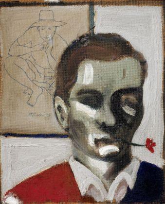 Pier Paolo Pasolini, Autoritratto con fiore in bocca, 1947. Courtesy Gabinetto Scientifico Letterario G.P. Vieusseux