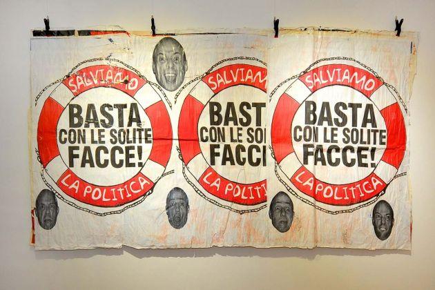 Pino Boresta. M.E.R.d.A. - Manifesti Elettorali Rettifica da Asporto. Installation view at Bianco Contemporaneo, Roma 2018
