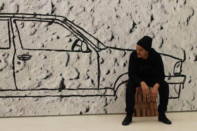 Robin Rhode, Car on Bricks (2011), veduta dell'allestimento al MAXXI, courtesy Fondazione MAXXI