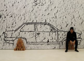 Robin Rhode, Car on Bricks (2012), veduta dell'allestimento al MAXXI, courtesy Fondazione MAXXI