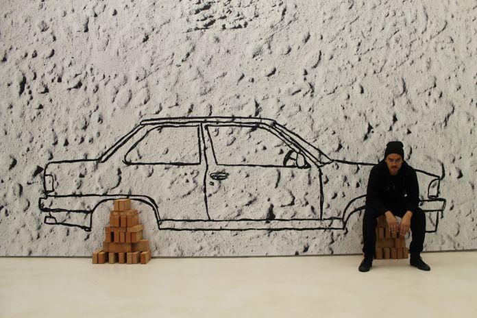 Robin Rhode, Car on Bricks (2012), veduta dell'allestimento al MAXXI, courtesy Fondazione MAXXI