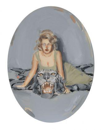 Romina Bassu, Doll's house, 2018, acrilico su tela, diam. cm 80x60. Collezione privata. Courtesy Studio SALES di Norberto Ruggeri, Roma.