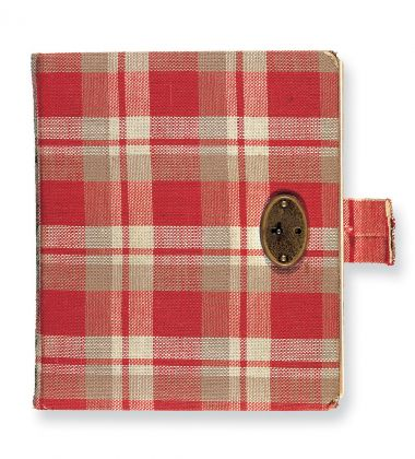 The original first red chequered diary of Anne Frank. copyright Anne Frank House