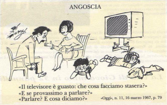 """Una vignetta di Giovannino Guareschi apparsa su """"Oggi"""" nel 1967"""