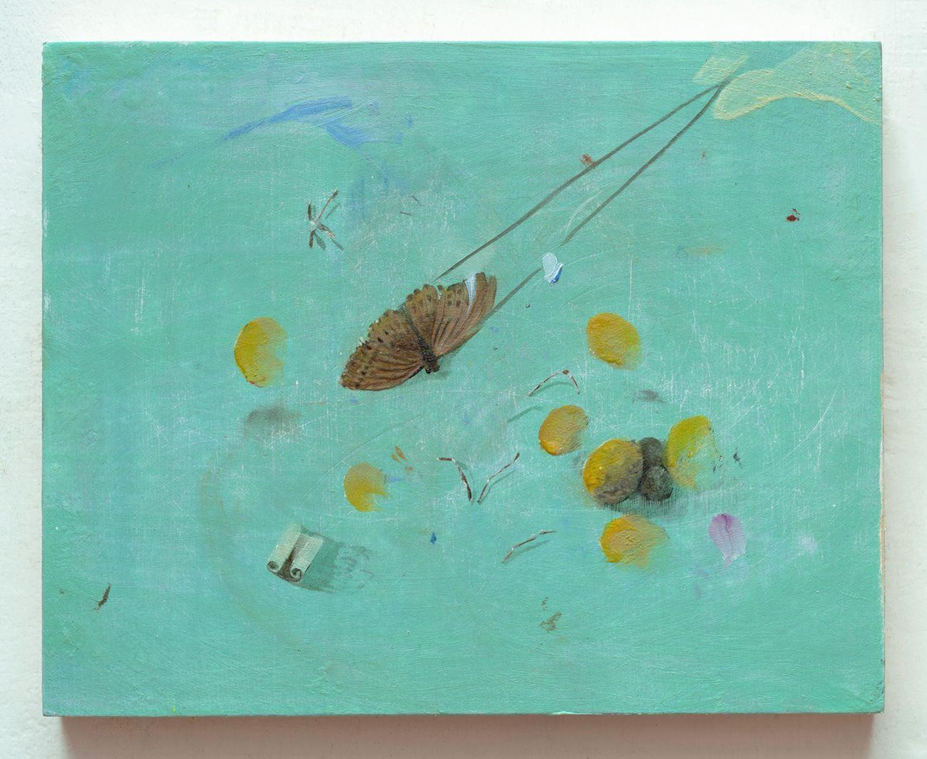 Vera Portatadino, L'Umanità non rimarrà per sempre legata alla Terra, 2018, oil and acrylic on plywood, 24 x 30 cm