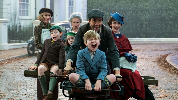 Jane (Emily Mortimer), John (Nathanael Saleh), Annabel (Pixie Davies), Ellen (Julie Walters). Jack (Lin-Manuel Miranda) Georgie (Joel Dawson) and Mary Poppins (Emily Blunt) in Disney's original musical MARY POPPINS RETURNS, a sequel to the 1964 MARY POPPINS which takes audiences on an entirely new adventure with the practically-perfect nanny and the Banks family. Mary Poppins Returns