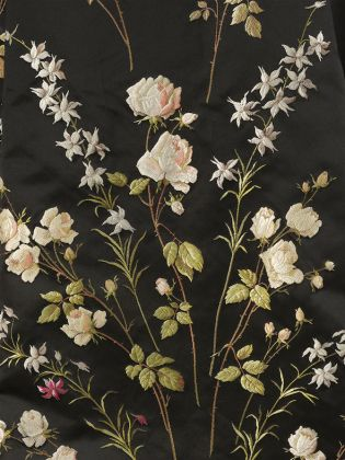 Silk train (detail), woven with a pattern of roses, c.1890s © Victoria and Albert Museum, London