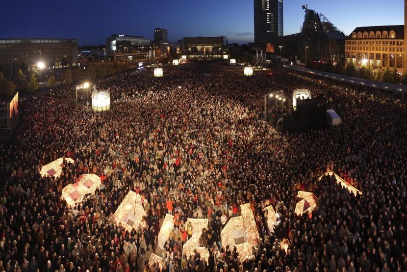 Lichtfest Leipzig 2009, anniversario ventennale rivoluzione pacifica, Photo credit Andreas Schmidt, Courtesy PR partener