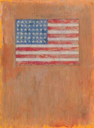 THE CONDITION OF BEING HERE: DRAWINGS BY JASPER JOHNS, Jasper Johns, Flag on Orange Field, 1957. Fluorescent paint, watercolor, pastel, and graphite pencil on paper, 10 ½ x 7 3/4 in. (26.7 x 19.7 cm). The Menil Collection, Houston, Promised gift of Janie C. Lee in honor of her grandfather, Alfred C. Glassell, Sr. © 2018 Jasper Johns / Licensed by VAGA at Artists Rights Society (ARS), NY