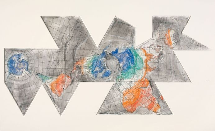 THE CONDITION OF BEING HERE: DRAWINGS BY JASPER JOHNS, Jasper Johns, Study for 1st Version of Map (Based on Buckminster Fuller's Dymaxion Airocean World), 1967. Pastel over Photostat on paper, 30 x 55 1/4 in. (76.2 x 140.3 cm). The Menil Collection, Houston, Bequest of David Whitney. © 2018 Jasper Johns / Licensed by VAGA at Artists Rights Society (ARS), NY