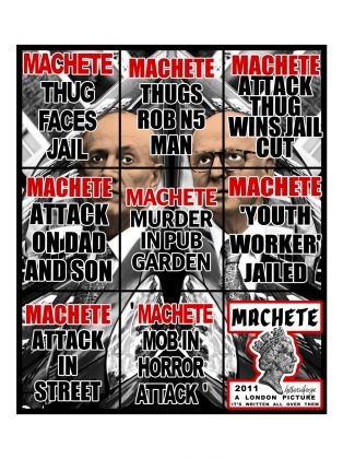 DAL MAR, WAR IS OVER, Gilbert and George, Machete, 2011. A Ravenna