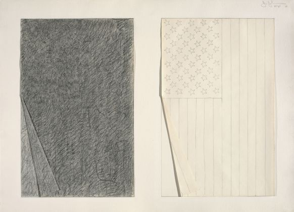 THE CONDITION OF BEING HERE: DRAWINGS BY JASPER JOHNS, Jasper Johns, Two Flags, 1969. Graphite pencil and collage on paper. 22 1/4 x 30 3/4 in. (56.5 x 78.1 cm). The Menil Collection, Houston. © 2018 Jasper Johns / Licensed by VAGA at Artists Rights Society (ARS), NY