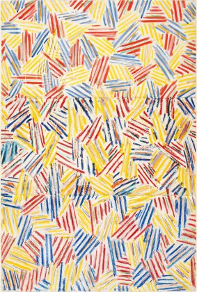 THE CONDITION OF BEING HERE: DRAWINGS BY JASPER JOHNS, Jasper Johns, Corpse, 1974- 1975. Colored ink, oil stick, pastel, and graphite pencil on paper, 42 5/8 x 28 ½ in. (108.3 x 102.2 cm). The Menil Collection, Houston, Bequest of David Whitney. © 2018 Jasper Johns / Licensed by VAGA at Artists Rights Society (ARS), NY