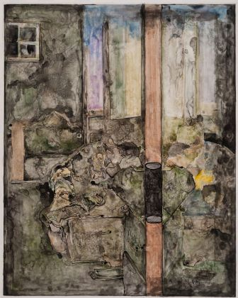 THE CONDITION OF BEING HERE: DRAWINGS BY JASPER JOHNS, Jasper Johns, Untitled, 2015. Ink and w atercolor on plastic, 37 x 29 5/8 in. (94 x 75.2 cm). Promised Gif t f rom the Collection of Louisa Stude Sarof im. © 2018 Jasper Johns / Licensed by VAGA at Artists Rights Society (ARS), NY