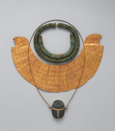 Necklace of Lentoid Beads, String of Lentoid Beads, and Heart Scarab of Manuwai The Metropolitan Museum of Art, Fletcher Fund, 1920