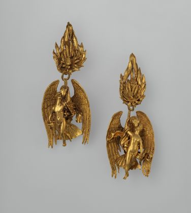 Pair of gold earrings with Ganymede and the eagle The Metropolitan Museum of Art, Harris Brisbane Dick Fund, 1937