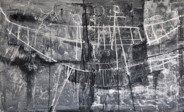 Luigi Pericle, Matri Dei d.d.d., 1965, Tecnica mista su tela, 80 x 129,5 cm