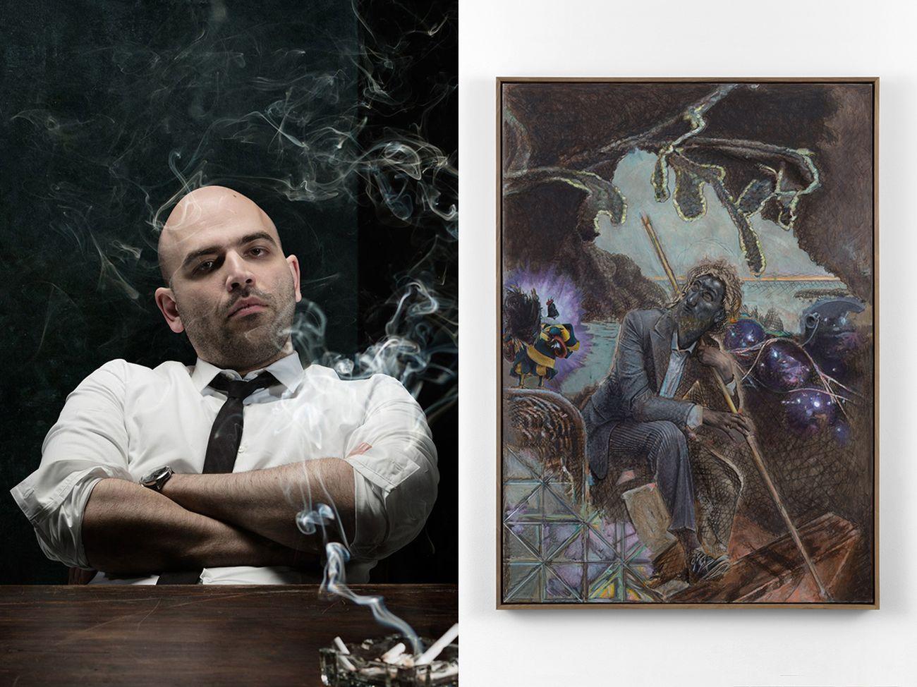 A sinistra, lo scrittore Roberto Saviano. A destra, un quadro dell'italianissimo Pietro Roccasalva esposto nella sede londinese di Massimo De Carlo