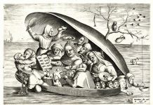 Anonymous in the manner of Bosch, engraved by Pieter Van der Heyden. Musicians in a mussel shell. Hieronymus Cock © KBR, Koninklijke Bibliotheek van België (1200x890)