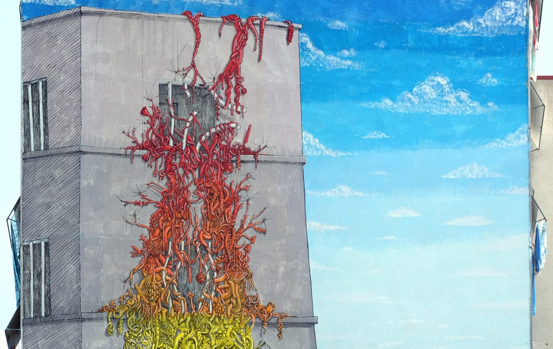 Blu, murale a Casal de' Pazzi, Roma, 2015, particolare. Courtesy blublu.org