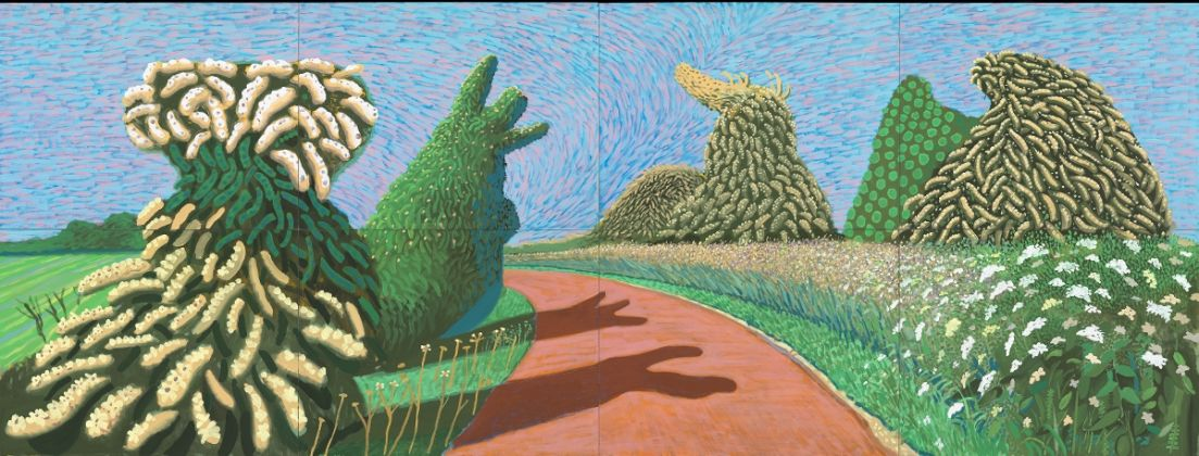 """David Hockney, """"May Blossom on the Roman Road"""" 2009, Oil on 8 canvases (36 x 48"""" each) 72 x 192"""" overall © David Hockney. Photo Credit: Richard Schmidt"""