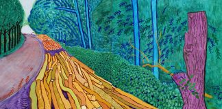 "David Hockney, ""More Felled Trees on Woldgate"" 2008, Oil on 2 canvases (60 x 48"" each) 60 x 96"" overall © David Hockney. Photo Credit: Richard Schmidt"