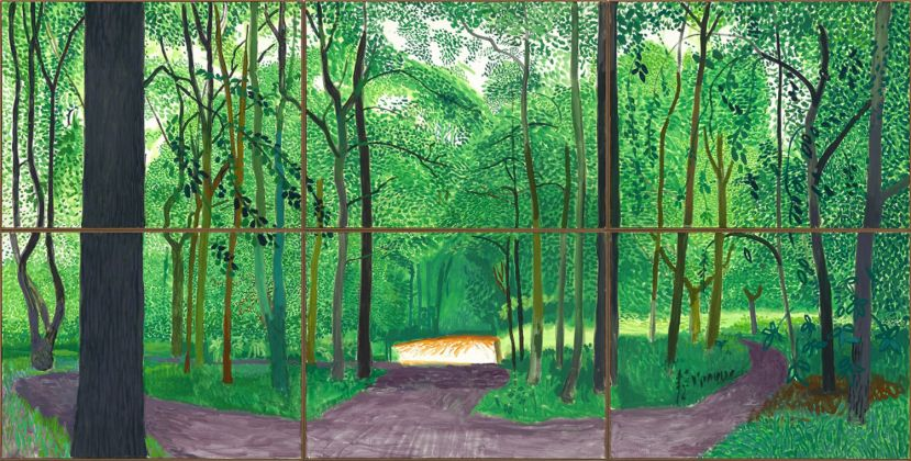 "David Hockney, ""Woldgate Woods, 26, 27 - 30 July 2006"", Oil on 6 canvases (36 x 48"" each) 72 x 144"" overall © David Hockney. Photo Credit: Richard Schmidt"