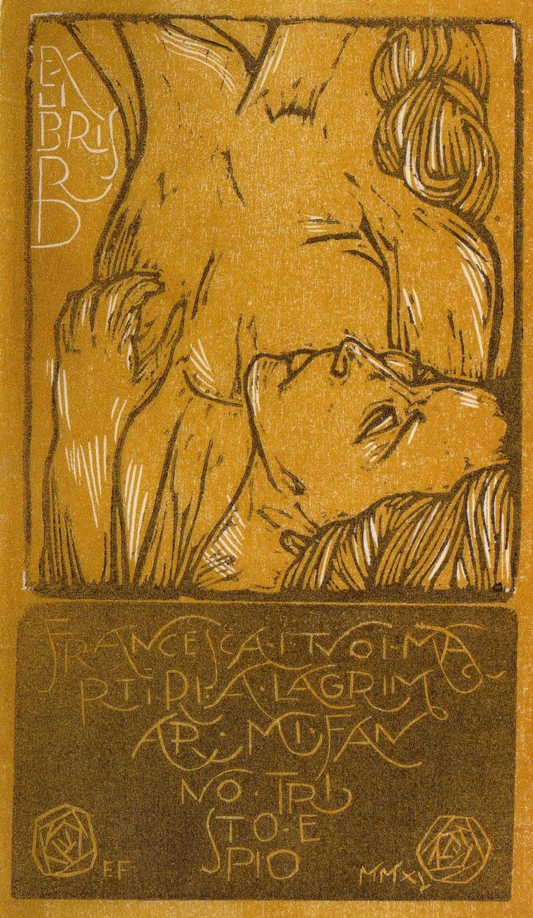 Edoardo Fontana, Paolo e Francesca, ex libris Roberta Dittura de Denaro, 2015, xilografia, 154x91 mm   Courtesy l'artista (tratta da catalogo Dantesca)