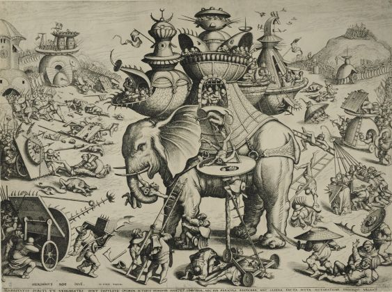 JAN and LUCAS VAN DOETECUM after (Hieronymus Bosch ), The Siege of the Elephant, Engraving, ca. 1555 1560 (1200x896)