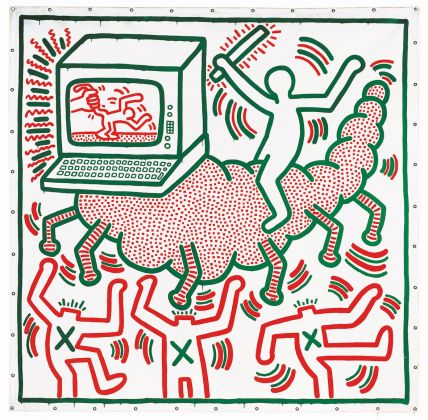 Keith Haring, 1958–1990, Untitled 1983, Vinyl paint on tarpaulin 3068 x 3020 mm. Collection of KAWS © Keith Haring Foundation