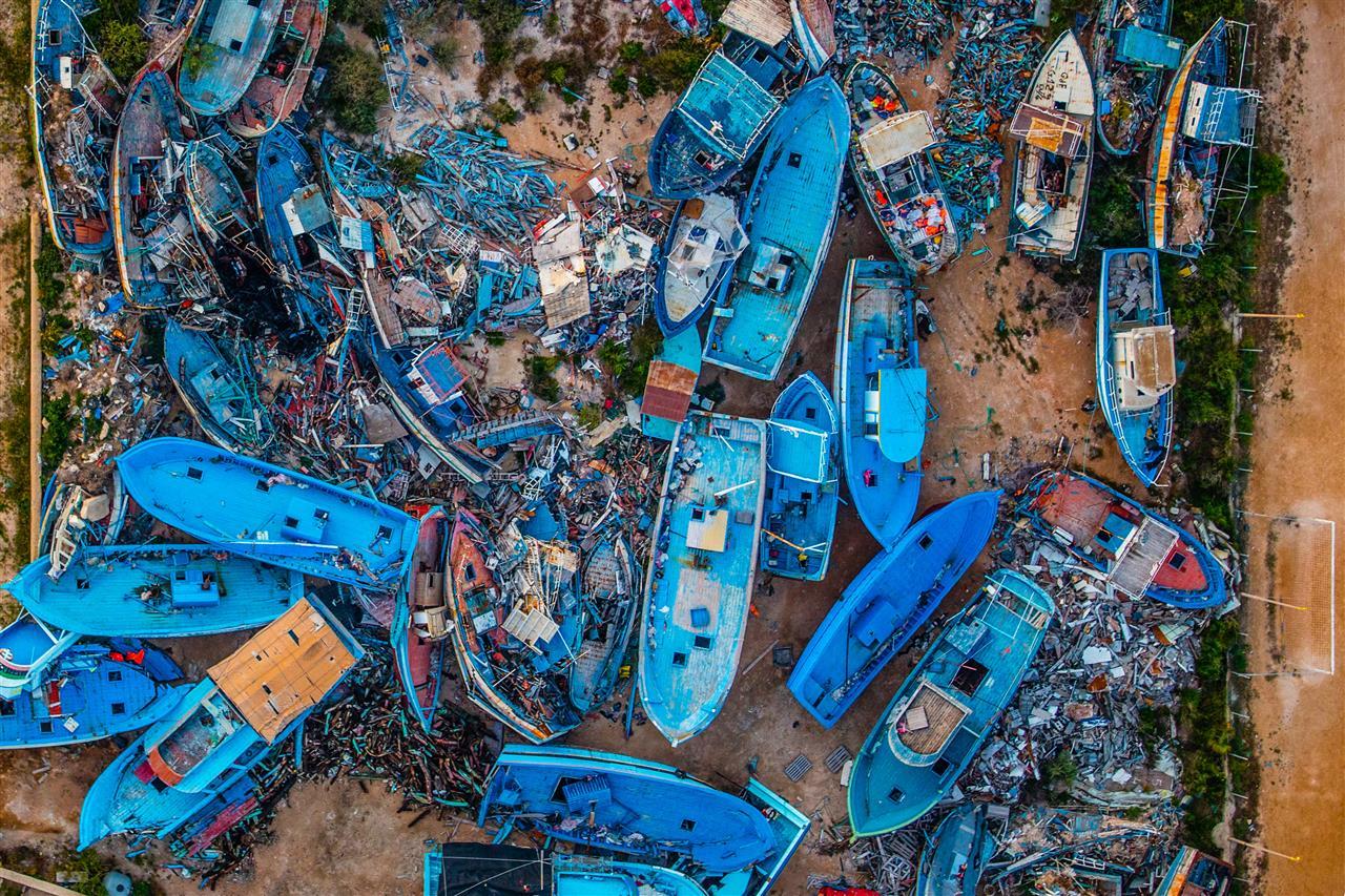 Massimo Sestini, Lampedusa, Boats Cemetery, Lampedusa 2014