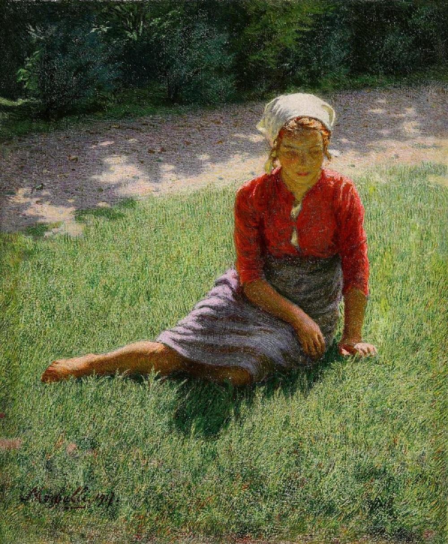 Angelo Morbelli, La mia Teresa 1917 olio su tela cm.44,5x36,5