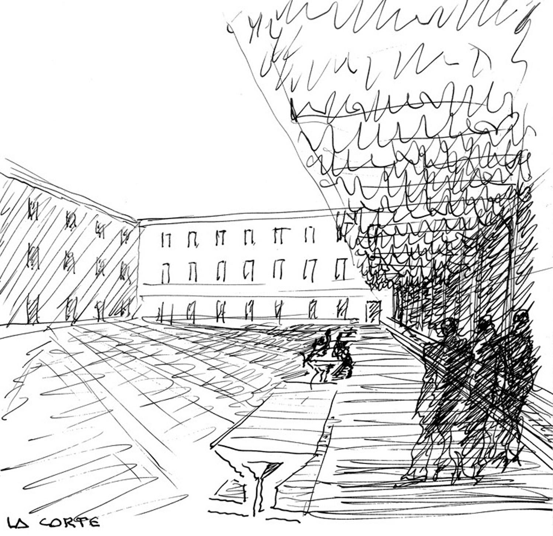 Schizzo del progetto, presentazione del progetto per il nuovo polo bibliotecario e culturale di Palazzo San Felice