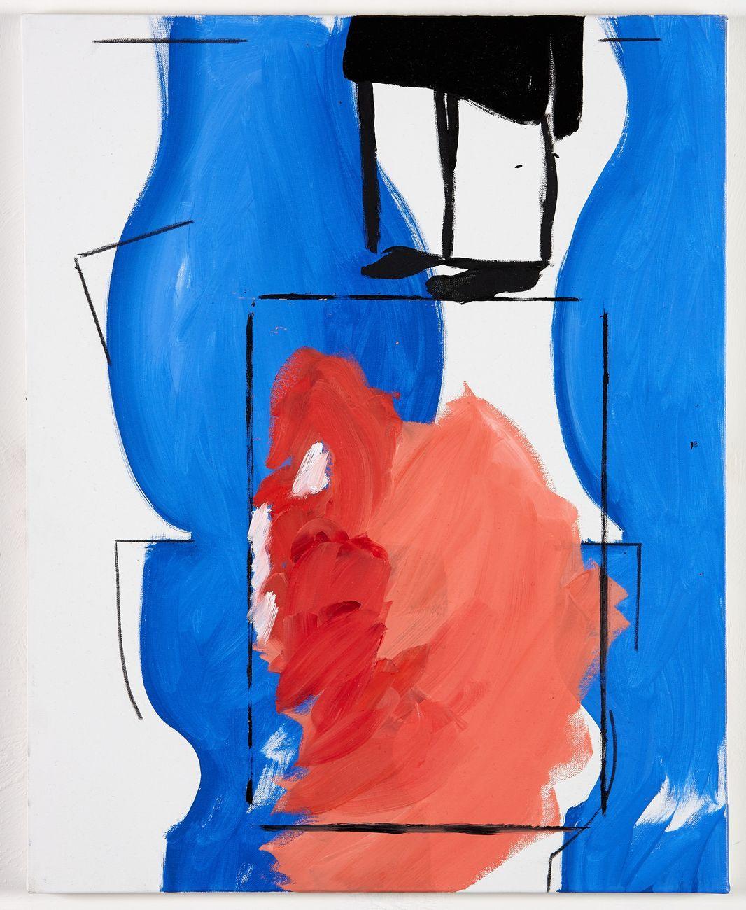Sofia Silva, Jean Hélion en Arabie, 2016, oil gesso and charcoal on canvas, 50 x 40 cm