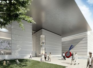 The Norton Museum of Art's new Heyman Plaza designed by Foster + Partners, as seen from South Dixie Highway. Image courtesy of Foster + Partners