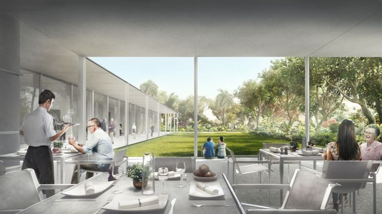 The Restaurant at the Norton garden view, Norton Museum of Art, designed by Foster + Partners. Image courtesy of Foster + Partners