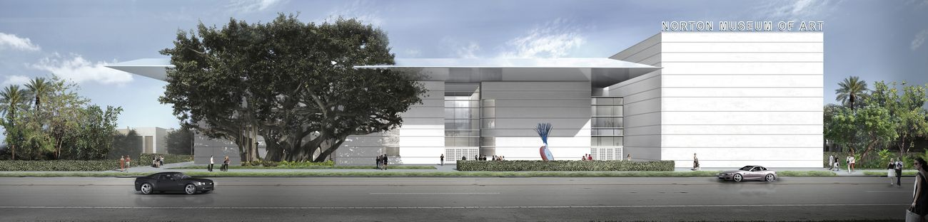 The new façade of the Norton Museum of Art, as seen from South Dixie Highway, designed by Foster + Partners. Image courtesy of Foster + Partners