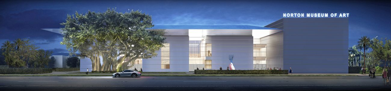 The new façade of the Norton Museum of Art, as seen from South Dixie Highway (evening view), designed by Foster + Partners. Image courtesy of Foster + Partners