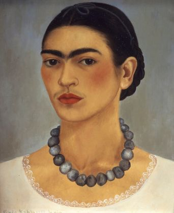 Frida Kahlo (Mexican, 1907–1954). Self-Portrait with a Necklace, 1933. Oil on metal, 13 ¾ x 11 in. (35 x 29 cm). The Jacques and Natasha Gelman Collection of 20th Century Mexican Art and the Vergel Foundation. © 2019 Banco de México Diego Rivera Frida Kahlo Museums Trust, Mexico, D.F. / Artists Rights Society (ARS), New York