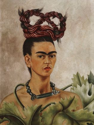 Frida Kahlo (Mexican, 1907–1954). Self-Portrait with Braid, 1941. Oil on hardboard, 20 x 15 ¼ in. (51 x 38.5 cm). The Jacques and Natasha Gelman Collection of 20th Century Mexican Art and the Vergel Foundation. © 2019 Banco de México Diego Rivera Frida Kahlo Museums Trust, Mexico, D.F. / Artists Rights Society (ARS), New York