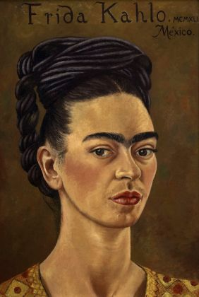 Frida Kahlo (Mexican, 1907–1954). Self-Portrait with Red and Gold Dress (Self-Portrait MCMXLI), 1941. Oil on canvas, 15 ¼ x 10 ¾ in. (39 x 27.5 cm). The Jacques and Natasha Gelman Collection of 20th Century Mexican Art and the Vergel Foundation. © 2019 Banco de México Diego Rivera Frida Kahlo Museums Trust, Mexico, D.F. / Artists Rights Society (ARS), New York