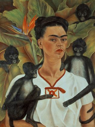 Frida Kahlo (Mexican, 1907–1954). Self-Portrait with Monkeys, 1943. Oil on canvas, 32 x 24 ¾ in. (81.5 x 63 cm). The Jacques and Natasha Gelman Collection of 20th Century Mexican Art and the Vergel Foundation. © 2019 Banco de México Diego Rivera Frida Kahlo Museums Trust, Mexico, D.F. / Artists Rights Society (ARS), New York