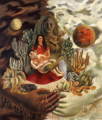 Frida Kahlo (Mexican, 1907–1954). The Love Embrace of the Universe, 1949. Oil on Masonite, 27 ½ x 23 ¾ in. (70 x 60.5 cm). The Jacques and Natasha Gelman Collection of 20th Century Mexican Art and the Vergel Foundation. © 2019 Banco de México Diego Rivera Frida Kahlo Museums Trust, Mexico, D.F. / Artists Rights Society (ARS), New York