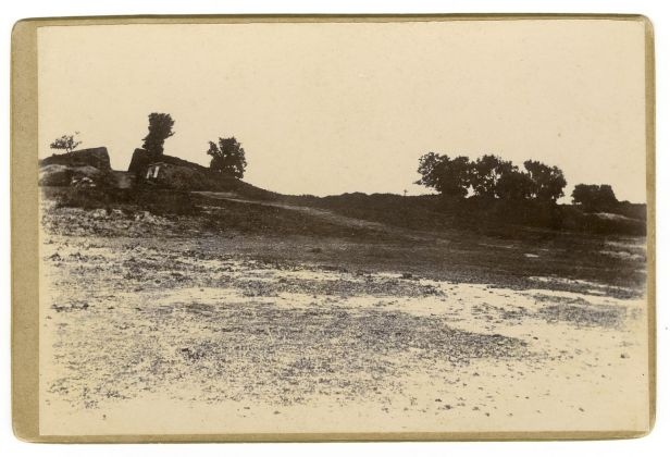 The stupa of Piprahwa Excavation down the middle of the mound. Photography: © Peppé family