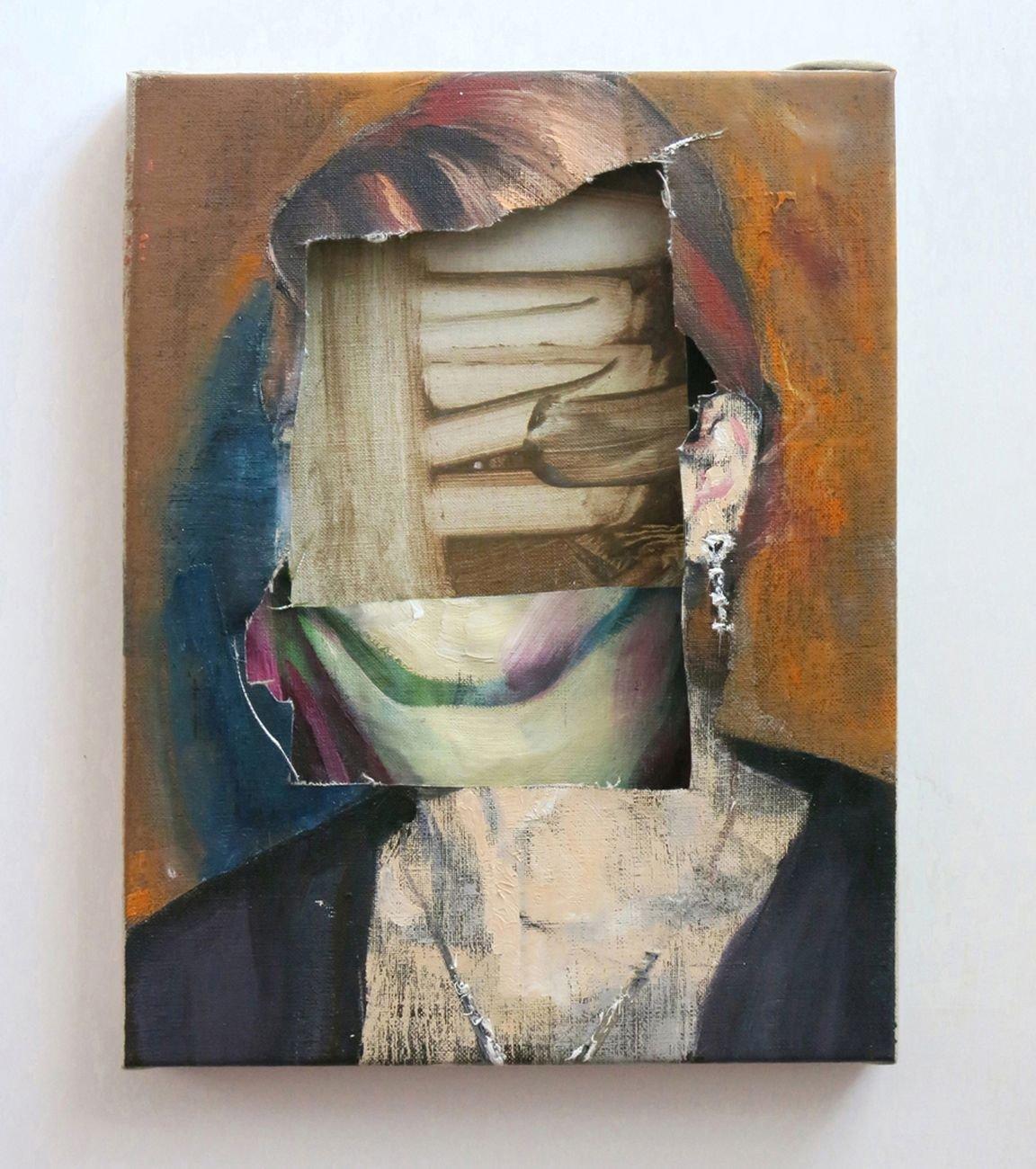 Alessandro Scarabello, Head #1, 2014, olio su tele sovrapposte, cm 27,5x21. Courtesy The Gallery Apart, Roma