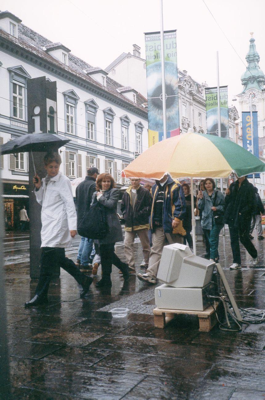 Alexei Shulgin, 386 DX, 1998-2013. Street performance, Graz, Austria, 2000