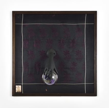 Dal 1800 a quando lo vedi (From 1800 until you see it), 2000 Black brocade, glass sphere and synthetic violets 88 x 88 cm / 34 41/64 x 34 41/64 inches Courtesy of the artist and Campoli Presti, London / Paris