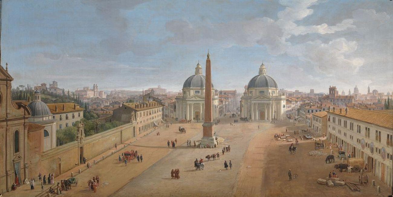 Caspar van Wittel, Veduta di Roma con Piazza del Popolo, 1718. Collezione Intesa San Paolo, Gallerie di Palazzo Stigliano, Napoli