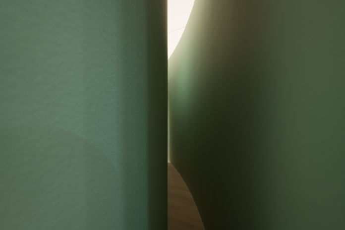 Bruce Nauman (American, born 1941). Kassel Corridor: Elliptical Space. 1972. Painted wallboard, wood, and door hardware. Exhibition copy. Outer wall: 144 × 564